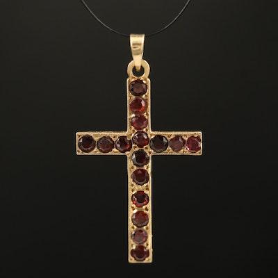 14K Garnet Cross Pendant
