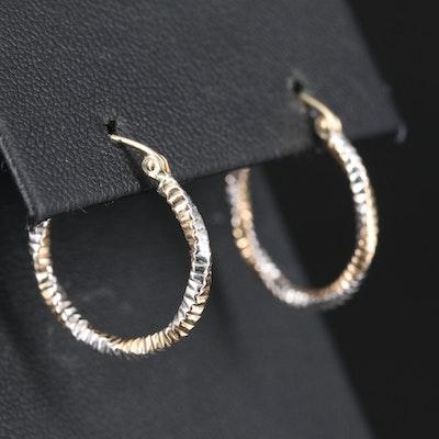 14K Crinkle Twisted Hoop Earrings