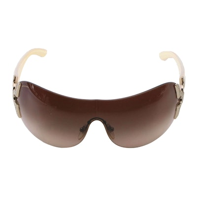 Bvlgari Embellished Shield Sunglasses with Gradient Lenses