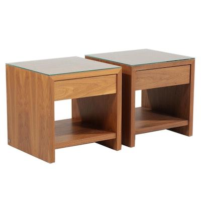 Two Desiron Modern Teak Veneer Nightstands, 21st Century