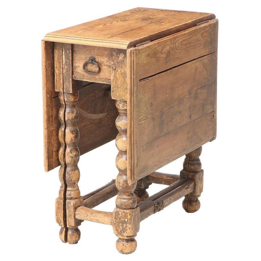 Pine Split Bobbin Gate-Leg Table, 18th Century
