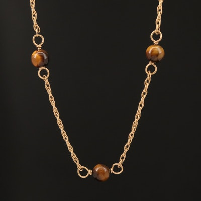 14K Tiger's Eye Station Necklace