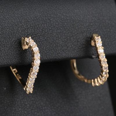 14K Cubic Zirconia Twisted Hoop Earrings