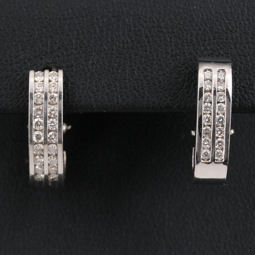 14K Double Row Channel Set Diamond Hoop Earrings