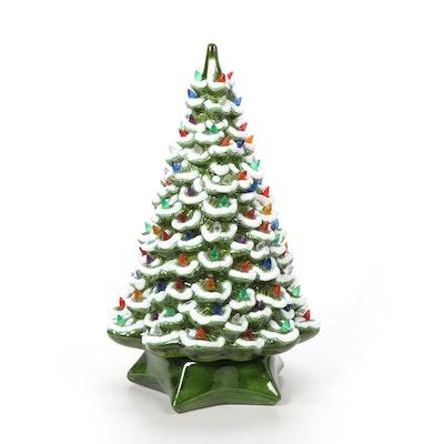 Hand-Painted Ceramic Christmas Tree Table Lamp, Vintage