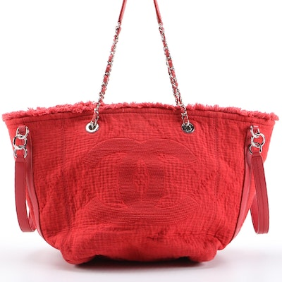 Chanel CC Open Tote in Red Quilted Canvas and Leather