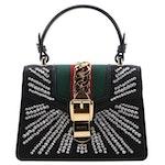 Gucci Mini Sylvie Crystal Burst Top Handle Bag in Black Satin