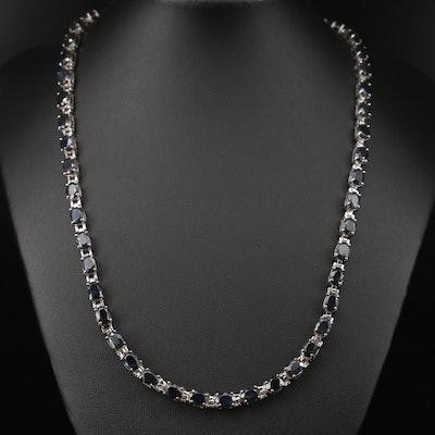 Sterling Silver Corundum Rivière Necklace