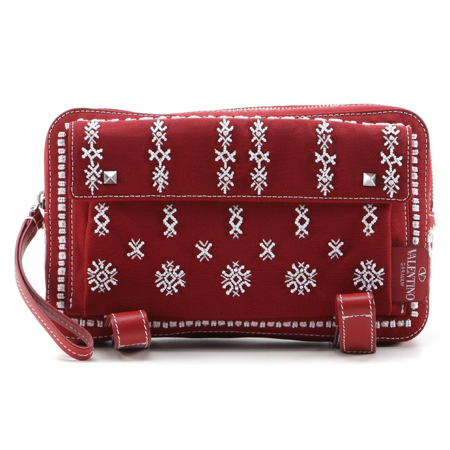 Valentino Mini Rockstud and Beaded Flap Messenger Bag in Canvas and Leather