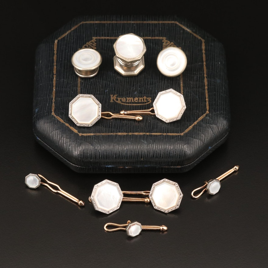 Krementz Vintage Mother of Pearl Shirt and Button Studs with Cufflinks and Box