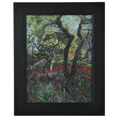 "Cynthia Crier Oil Painting ""Garden of Light & Trees V,"" 2014"