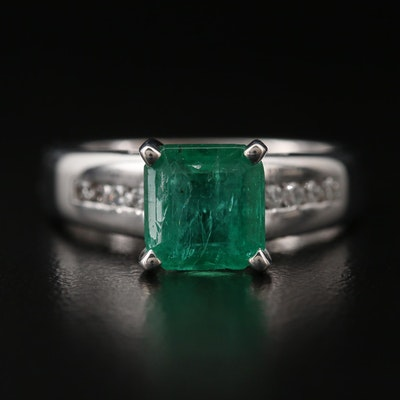 14K 2.34 CT Emerald and Diamond Ring with AGL Report