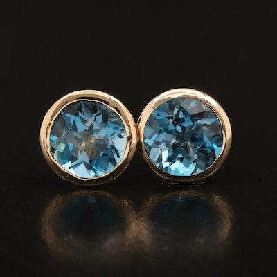 14K Bezel Set Topaz Stud Earrings