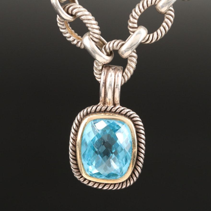 Sterling Topaz Enhancer Pendant Necklace
