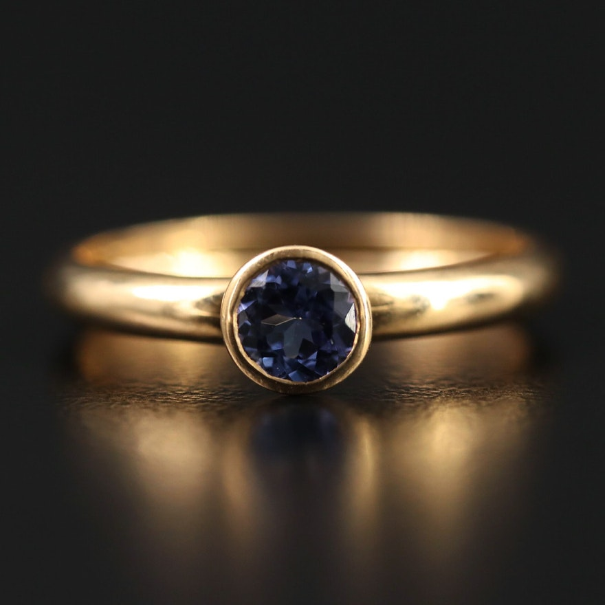 14K Bezel Set Tanzanite Ring
