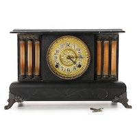 William L. Gilbert Six Column Wood Mantel Clock, 1908