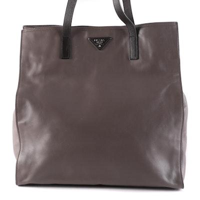 Prada Open Tote in Grey Calfskin Leather
