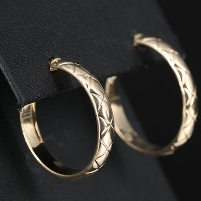 14K Quilted Textured Hoop Earrings