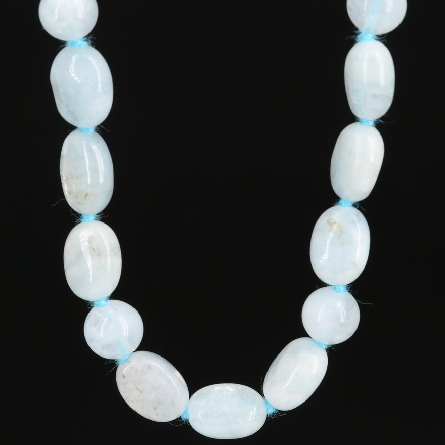 Hand Knotted Aquamarine Strand Necklace with Sterling Clasp