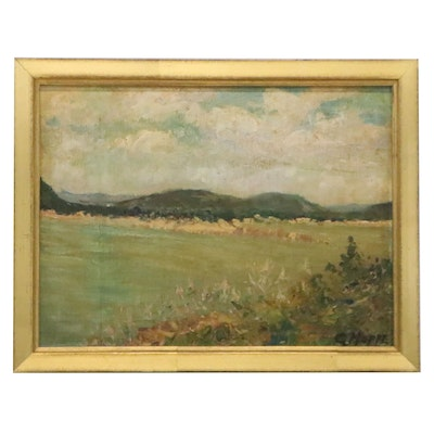 Carl Hoppe Pastoral Landscape Oil Painting, Mid-20th Century