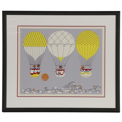 "Edie Harper Serigraph ""Up Up and Away,"" 1976"