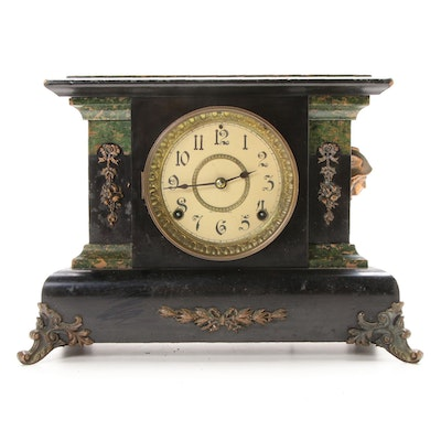 Seth Thomas Adamantine Wood Mantel Clock, Late 19th/ Early 20th Century