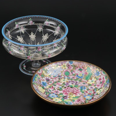 Vintage Hand Painted Floral Japanese Porcelain Ware and Footed Glass Dish