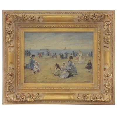 Franz Deischl Impressionist Style Oil Painting of Beach Scene, Mid-20th Century