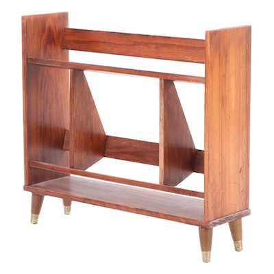 Mid Century Modern Walnut Book Rack