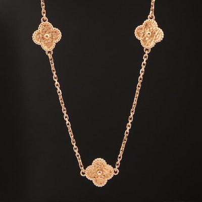 """Van Cleef & Arpels """"Alhambra"""" 18K Quatrefoil Station Necklace"""