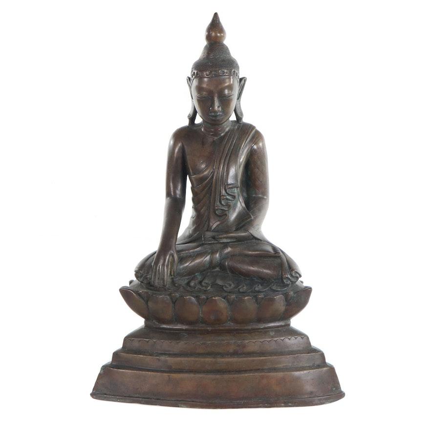 Thai Bronze Figure of the Buddha in Bhumisparsha Mudra