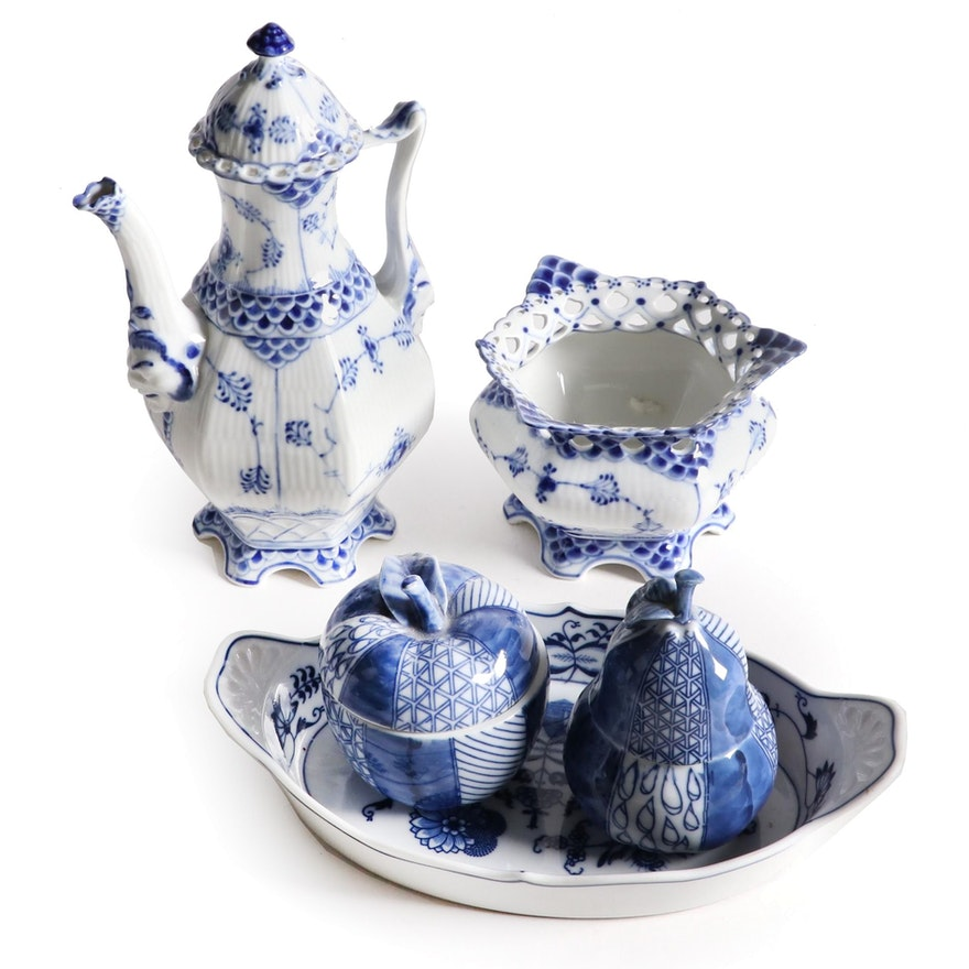 Royal Copenhagen Porcelain Lace Coffee Pot with Sugar Bowl and Other Tableware