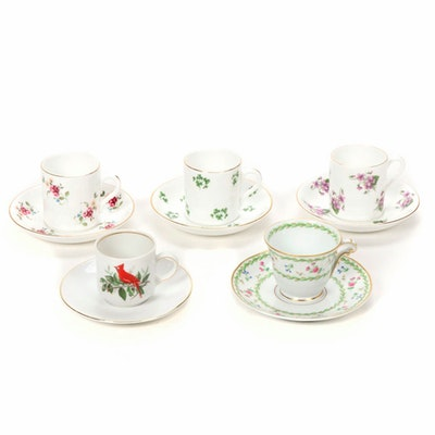 Bone China and Limoges Porcelain Tea Cups and Saucers