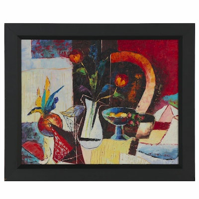 Modernist Style Still Life Oil Painting