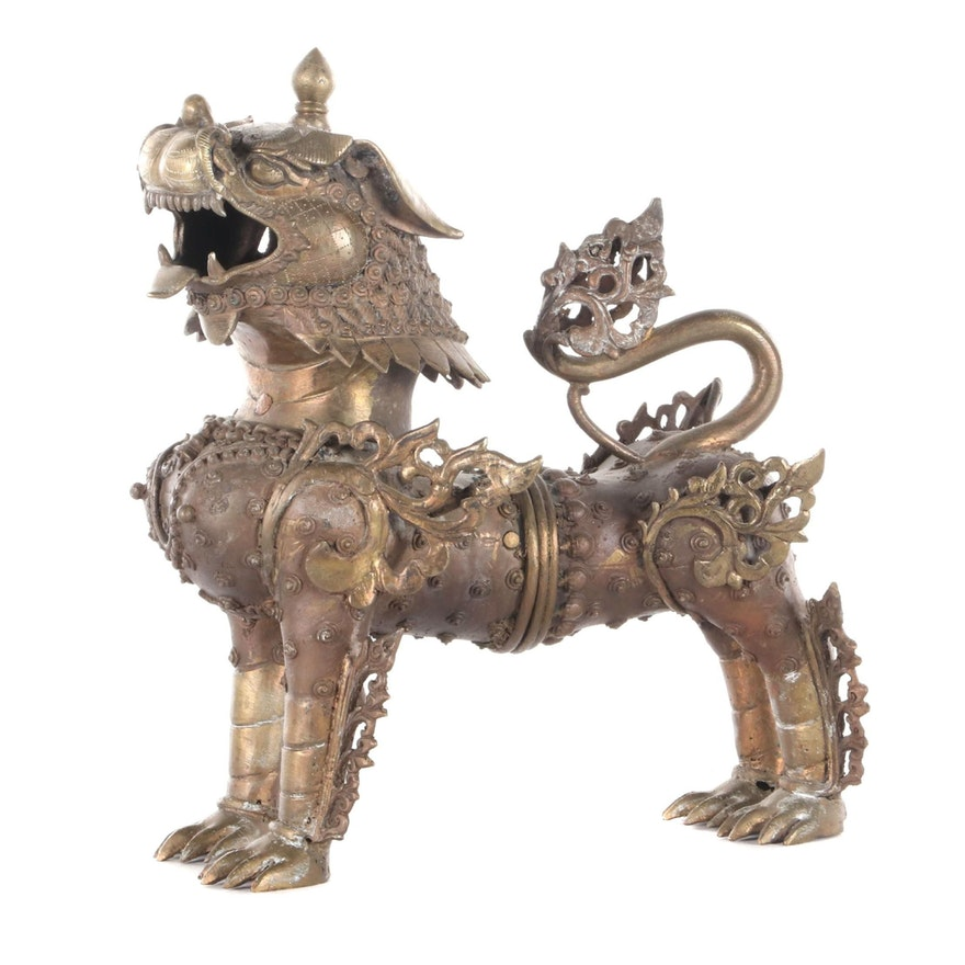 Brass Nepalese Temple Lion, 20th Century