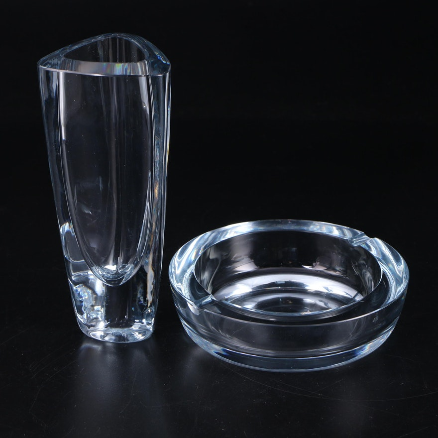 Stromberg Swedish Art Glass Vase and Ashtray, Mid-20th Century