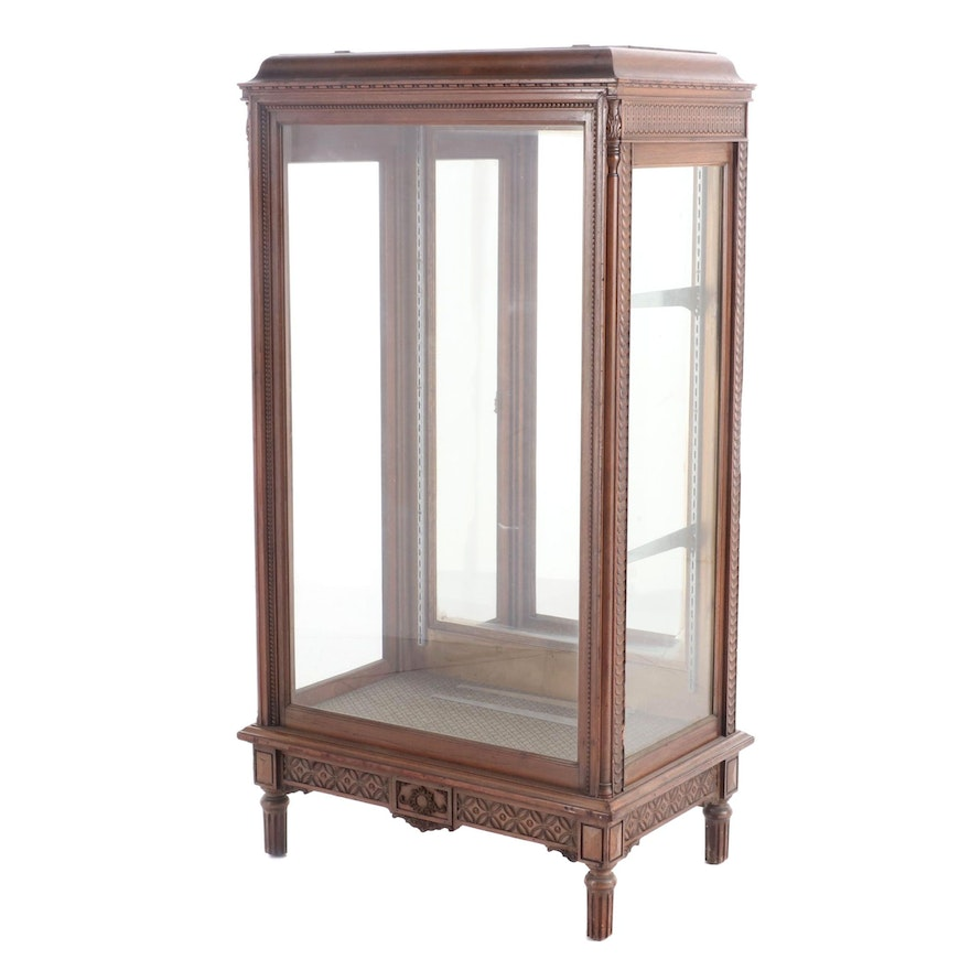 Louis XVI Style French Walnut Curio Cabinet, 20th Century