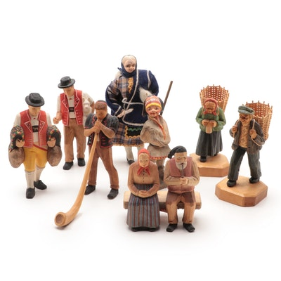 Swiss Hand-Carved Wooden Figurine of Seated Couple and Other Figurines