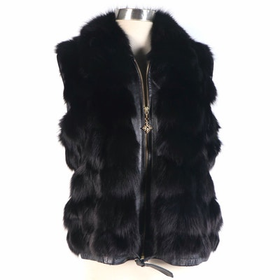 St. John Collection Black Leather and Fox Fur Outerwear Vest
