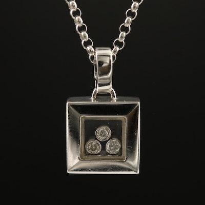 18K Diamond Floating Pendant with 14K Necklace