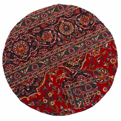 3'4 x 3'4 Hand-Knotted Persian Kashan Patchwork Round Rug, 1980s