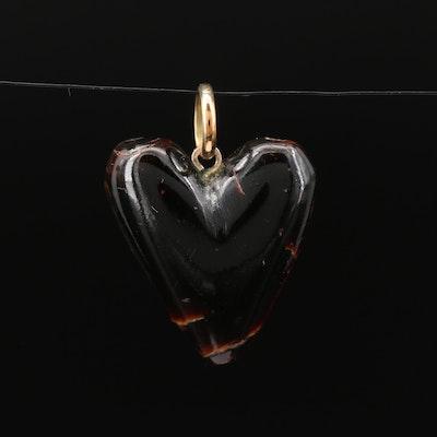 14K Carved Heart Black Coral Pendant