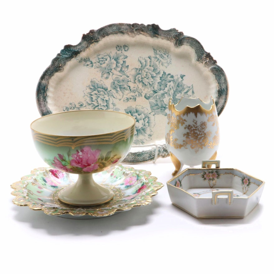 Nippon Hand Painted Plate, Hexagon Bowl, and Other Porcelain Tableware