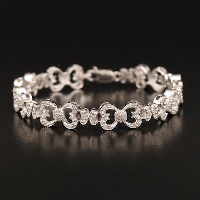 Sterling Silver 1.00 CTW Diamond Heart Motif Link Bracelet