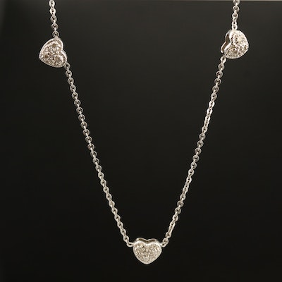 14K Diamond Station Heart Necklace