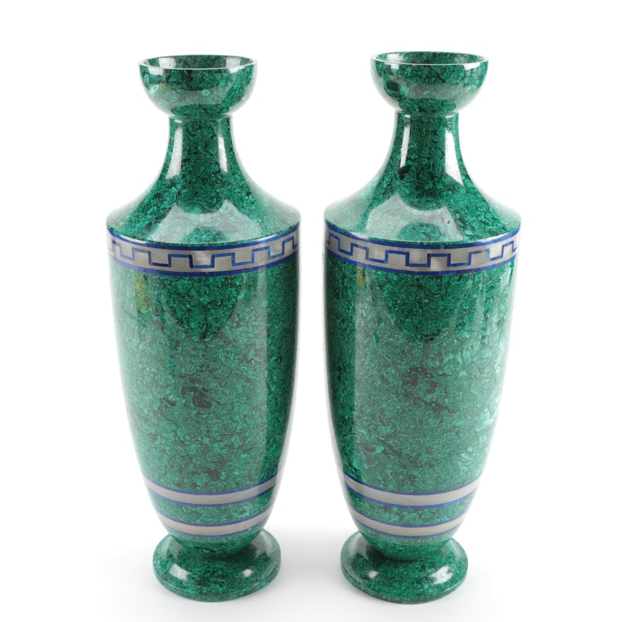 Pair of Composite Malachite Vases with Lapis and Agate Banding