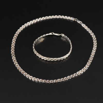 Sterling Fancy Link Necklace and Bracelet Set