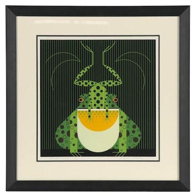 """Charley Harper Serigraph """"Frog Eat Frog,"""" 1978"""