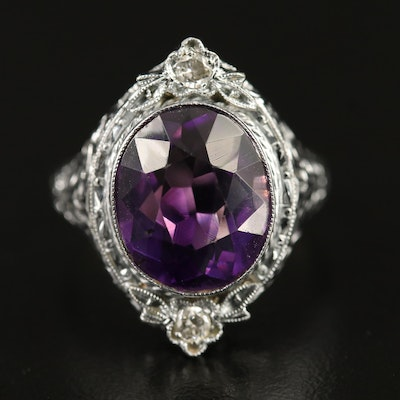 Vintage 10K Amethyst and Diamond Ring