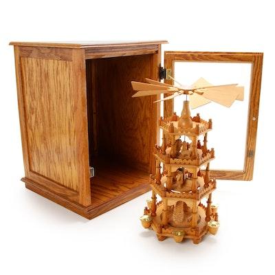 "Handmade German ""Weihnachtspyramide"" Oak Christmas Pyramid in Oak Cabinet"